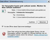 Installations Warnhinweis Download Demoversion